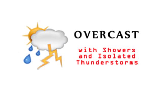 WeatherOvercastShowersIsolatedThunderstorms