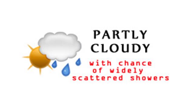 WeatherPartlyCloudyChanceWidelyScatteredShowers