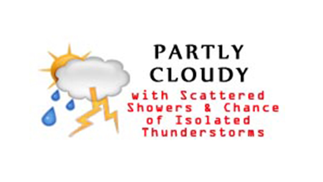 WeatherPartlyCloudyScatteredShowersChanceOfIsolatedThunderstorms