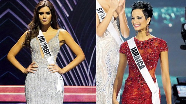 (L-R) MIAMI, Florida — Miss Colombia Paulina Vega, who won the Miss Universe title last night, during the evening gown segment of the pageant.  MIAMI, Florida — Miss Jamaica Kaci Fennell poses during the Miss Universe pageant in Miami last night. (PHOTOS: AP)