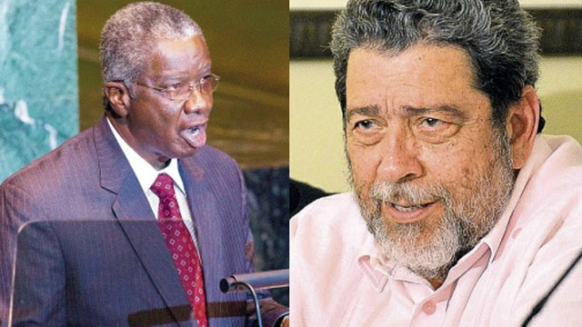 (L) STUART… while Caricom stands very firmly behind Guyana it is also aware of the good relations Caracas has with the region. (R) GONSALVES… disappointed that commitments made by Dominican Republic during a meeting in Brussels not kept.