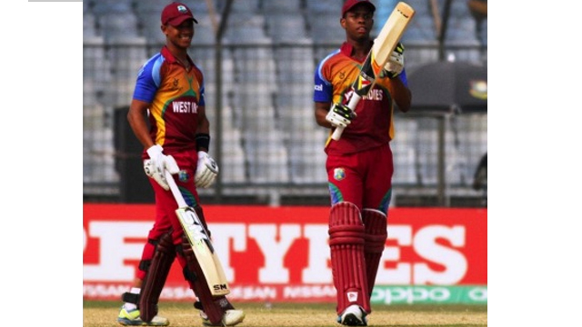 Shimron Hetmyer (right) and Tevin Imlach during their 77-run partnership against Pakistan in the ICC Youth Cricket World Cup on Sunday.