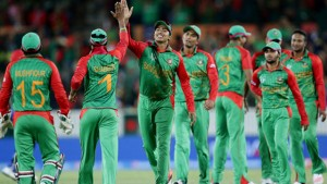 Bangladesh celebrates after taking another England wicket.