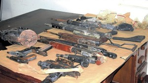 The weapons and assorted ammunition recovered by Trelawny cops yesterday.