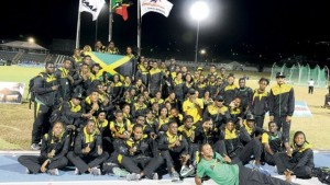 Members of Jamaica's Carifta Games squad at the end of the 44th edition inside the Kim Collins Stadium in Basseterre, St Kitts