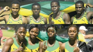 The Under-20 boys' 4x400m relay (from left) Jaheel Hyde, Marvin Williams, Terry Thomas and Michael O'Hara pose with the flag at the end of their dominating contest & Members of Jamaica's Under-20 4x400m relay team (from left) Yeaschea Williams, Andrenette Knight, Tiffany James, and Dawnalee Loney pose after winning the gold medal in 3 minutes, 37.96 seconds.