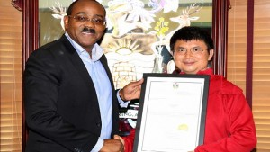 Prime Minister Gaston Browne and Xiao Jianhua, Ambassador-at-Large for Antigua and Barbuda