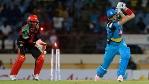 BOWLED: St Lucia Zouls' Kevin Pietersen is clean bowled by St Kitt's and Nevis' Nikhil Dutta during the Hero Caribbean Premier League Twenty20 match at Beausejour Cricket Ground, Gros Islet, St Lucia, on Wednesday. --Photo: ASHLEY ALLEN/CPL