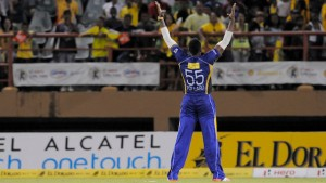 Kieron Pollard took two wickets in the last over, Guyana Amazon Warriors v Barbados Tridents. (Photo by Randy Brooks/CPL)