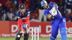 NOT GOOD ENOUGH: Barbados Tridents skipper Kieron Pollard tries to hit T&T Red Steel spinner Sulieman Benn over the top in the final over of the Hero Caribbean Premier League final at Queen's Park Oval, Port of Spain on Sunday. Red Steel won by 20 runs. –Photo: ROBERT TAYLOR