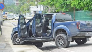 The Nissan Navara where it was left by the three escapees before they ran on to the Port of Spain General Hospital compound. (Photo: ISHMAEL SALANDY/Trinidad Express)