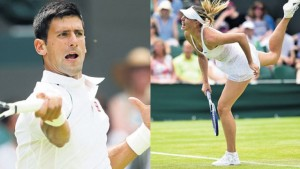 Serbia's Novak Djokovic returns against Finland's Jarkko Nieminen during their men's singles second-round match on day three of the 2015 Wimbledon Championships at The All England Tennis Club in Wimbledon, London, yesterday & Russia's Maria Sharapova serves to Netherlands' Richel Hogenkamp during their women's singles second-round match on day three of the 2015 Wimbledon Championships at The All England Tennis Club yesterday.