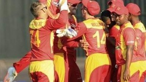 STAY UP ZIMBABWE: Zimbabwean players celebrate after beating India in their Twenty20 cricket match in Harare, Zimbabwe, on Sunday.