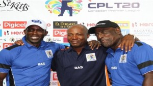 Former West Indies captains Sir Viv Richards (right) and Brian Lara (center) with former professional footballer Dwight Yorke. Sir Viv said he would support Lara's bid should he choose to vie for the WICB's top position.