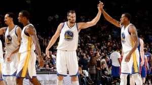 Andre Iguodala, right, led the Warriors bench with 13 points on Monday, while Andrew Bogut scored eight points and had nine rebounds.