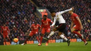 Manchester United's French striker Anthony Martial (second right) flashes a shot wide during the English Premier League football match between Liverpool and Manchester United at Anfield in Liverpool, north-west England, yesterday.
