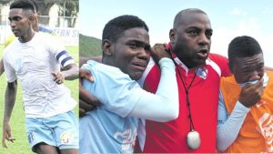 Dominic James in action for his team St George's College & St George's College team manager Michael Gordon (centre) supports two members of the team as they all mourn the passing of Dominic James yesterday at Stadium East during a Manning Cup match against Excelsior High