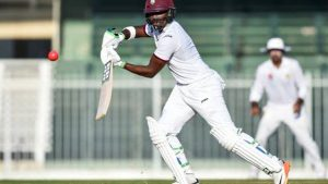 West Indies batsman Darren Bravo plays a shot on the third and final day of the tour match against Pakistan Cricket Board Patron's XI at the Sharjah Cricket Stadium in the United Arab Emirates, yesterday.