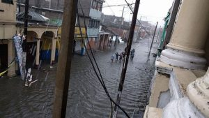 Flooding in Les Cayes in the south of Haiti, caused by Hurricane Matthew