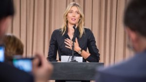 Russian tennis player Maria Sharapova speaks at a press conference in downtown Los Angeles, California yesterday.