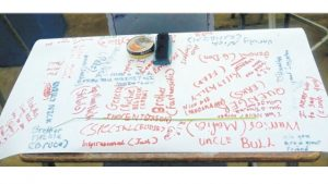 Nicholas Francis' desk decorated with tributes from his classmates