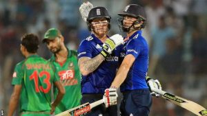 Stokes and Woakes saw England to victory with an unbroken stand of 42 in little more than five overs