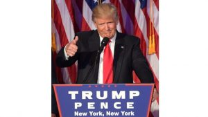 NEW YORK, United States — Republican president-elect Donald Trump gestures before giving his victory speech early this morning at the New York Hilton Midtown in New York.