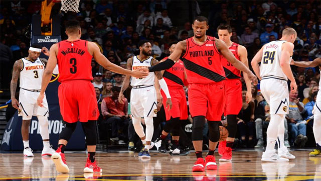 456f21efc Blazers hold off late Nuggets rally in physical Game 2 to even series